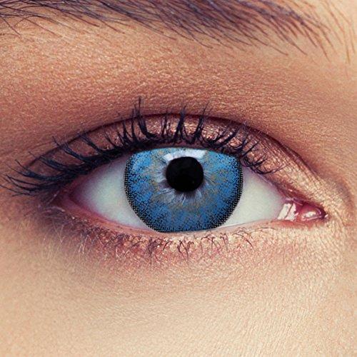 Designlenses 2 Blaue Kontaktlinsen mit Stärke ozeanblaue Drei Monatslinsen für einen natürlichen Effekt, geeignet für dunkle Augen + Gratis Behälter