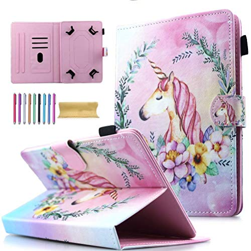 Universal 10' Tablet Case, AMOTIE Wallet Stand Cover w/Credit Card Slots for iPad 9.7 2018 2017/ iPad Air 1 2/ Galaxy Tab A 10.1 S4 10.5/ Tab E 9.6/ Fire HD 10/ Google and More 9.5, Pink Unicorn