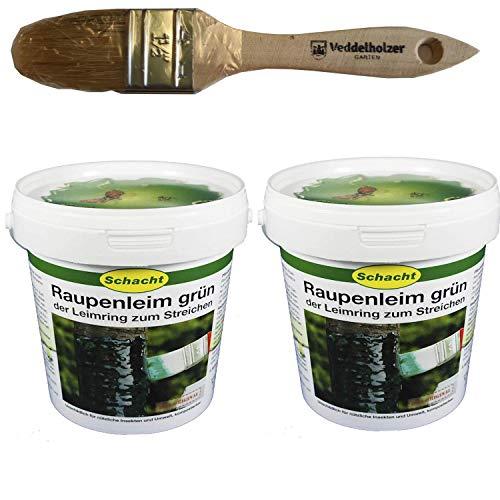 Schacht Raupenleim 2kg Eimer + Veddelholzer Marken-Pinsel 35mm Breit Leimringe für Obstbäume als Baumschutz Baumleimring zum streichen auch Insektenleim genannt