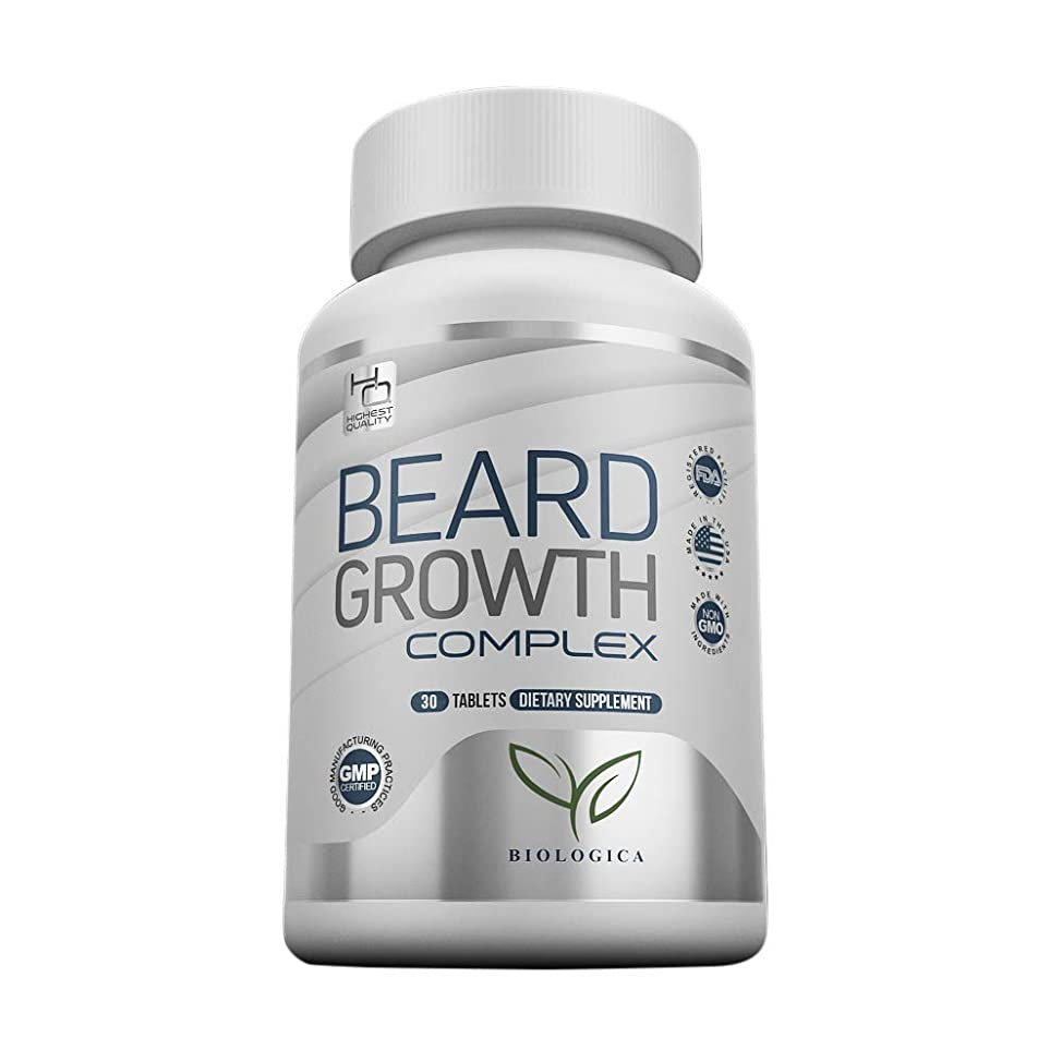 Biotin Beard Growth Supplement For Men   Grow Your Facial Hair Thicker & Faster   Vitamin Pills For a Naturally Fuller, Healthier Beard and Sideburns   Suitable for All Hair Types and All Ethnicities