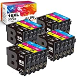 ejet 16XL Cartuchos de Tinta Compatible para Epson 16XL para Epson Workforce WF-2750DWF WF-2510WF WF-2010W WF-2630WF WF-2520NF WF-2530WF WF-2540WF (8 Negro,4 Cian, 4 Magenta, 4 Amarillo, 20Pack)
