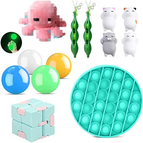 15er Anti Stress Spielzeug Set Fidget Toy Kinder, 4 Gobbles Sticky Balls + 1*Push Pop Pop Bubble+2 Bohnen + 1*Oktopus Plüsch+1*Ultimate Figdet Cube+4*Kawaii Katze Mochi (15 Stück)