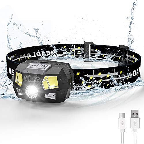 Rechargeable Headlamp, Ultra Bright 600 Lumen White LED Spotlight Headlamp with Red Light & Motion Sensor, Waterproof Lightweight for Kids Adults Camping Fishing (Built-in Battery), 1 Pack