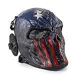 Wwman Máscara Táctica CS Airsoft de Cara Completa con Diseño de Calavera de, para Halloween, Cosplay, con Protección para Los Oídos, Capitán Americano