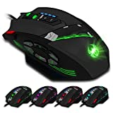 LINHU 12-Keys RGB Wired Gaming Mouse RGB Spectrum Backlit Ergonomic Mouse Programmable Modes up to 4000 DPI for Windows PC Gamers