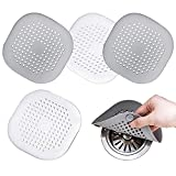 Hair Catcher,Square Hair Drain Cover for Shower Silicone Hair Stopper with Suction Cup,Easy to Install Suit for Bathroom,Bathtub,Kitchen 4 Pack (Grey White)