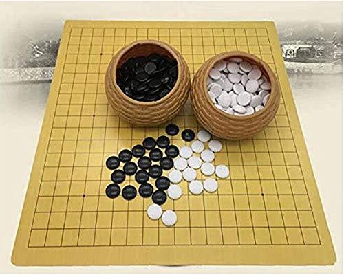 Ajedrez para tablero harry potter viaje Ir del juego de mesa de ajedrez Conjunto de piedras de plástico en las latas de paja de imitación + placa de cuero, 18.9 x 19.3 pulgadas Puzzle entretenimiento