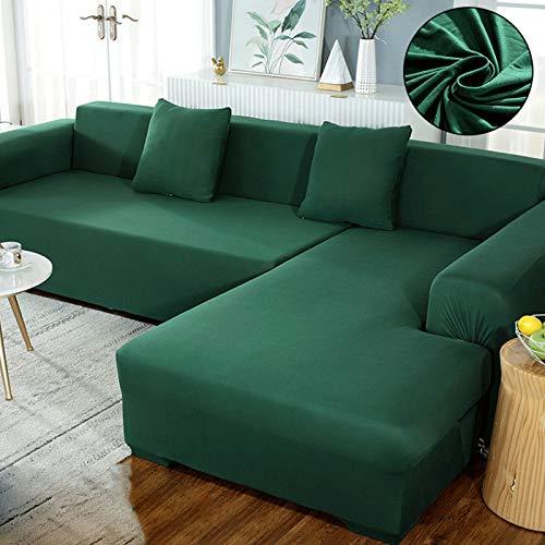 QSCV Universal Funda Sofa Ajustables para Salon,En Forma De L Protector De Muebles Elasticidad Funda Sofá,Color Sólido Anti-resbalón Fundas para Sofa-Turquesa 4-Seater 235-300cm
