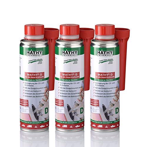 MATHY-D Reiniger für das Diesel Kraftstoffsystem Dieselsystemreiniger Kur 3 X 250ml mit Einfüller