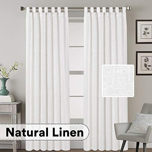 H.VERSAILTEX Living Room Linen Curtains Home Decorative Off White Tab Top Curtains Privacy Added Energy Saving Light Filtering Window Treatments Draperies for Bedroom, 2 Panels, 52 x 84 - Inch