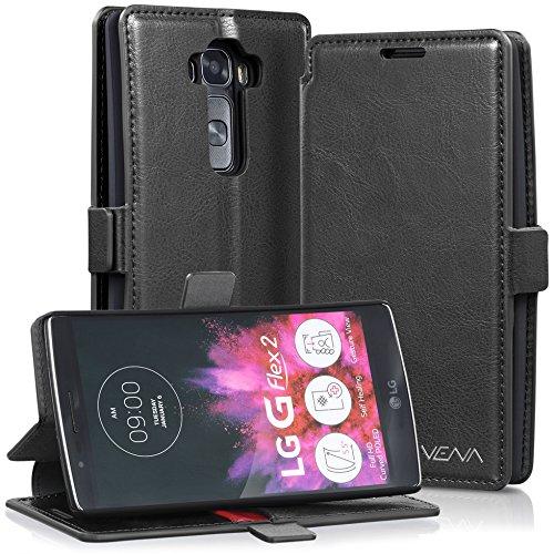VENA LG G Flex 2 Hülle, [vFolio] Vintage Genuine Leather Wallet Stand Flip Fall-Abdeckung mit [Card Pockets] für LG G Flex 2 II (Schwarz/Rot)