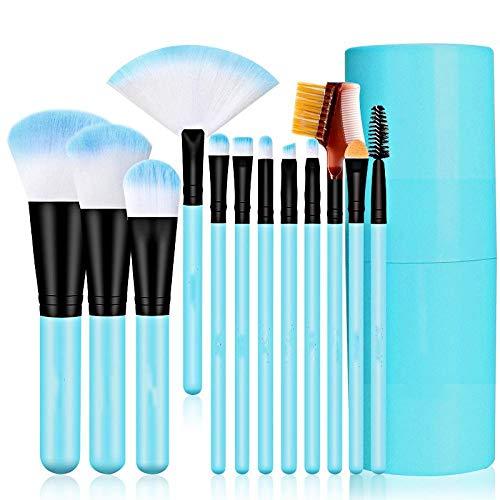 Juego de brochas de maquillaje 12 brochas de maquillaje Herramientas de belleza con estuche de cosméticos Brochas de maquillaje suaves-Lago azul