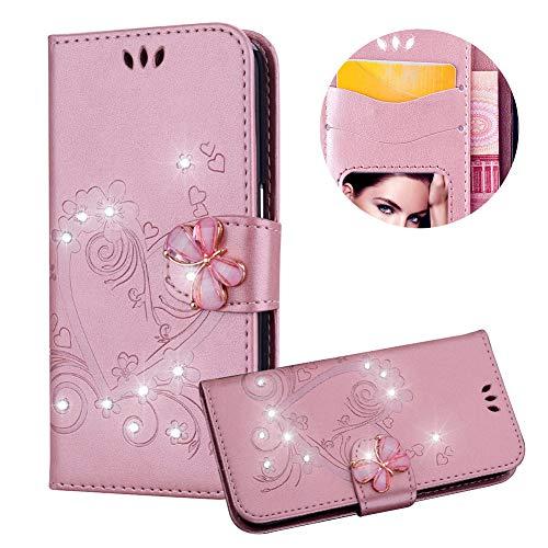 Rose Gold Brieftasche für Samsung Galaxy S8,Strass Handyhülle für Galaxy S8,Moiky Luxus Liebe Herze Muster 3D Schmetterling Dekor Magnetisch Kunstleder Stoßdämpfende Handytasche mit TPU