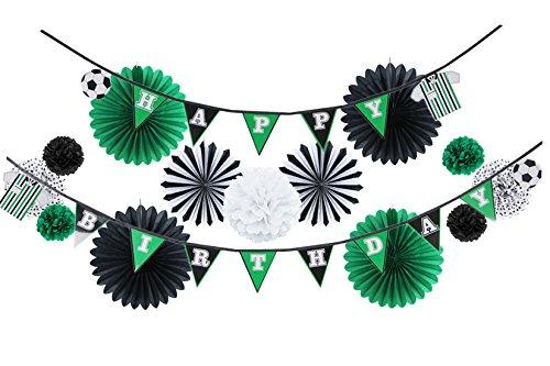 Easy Joy Decoración para Cumpleaños, Tema de Fútbol Guirnalda Happy Birthday Negro Verde para Carnaval Fiesta de Eurocopa para Niño, 14 Piezas