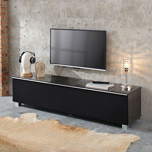 MAJA Soundboard 7739 in Edelstahloptik / Akustikstoff Schwarz Lowboard Soundconcept Glas 180x43x42cm