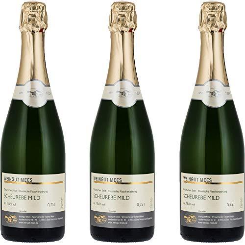Weingut Mees SCHEUREBE WINZERSEKT MILD DOUX SÜSS LIEBLICH Deutscher Sekt Klassische Flaschengärung Nahe Deutschland Sektpaket (3 x 750 ml) 100% Scheurebe