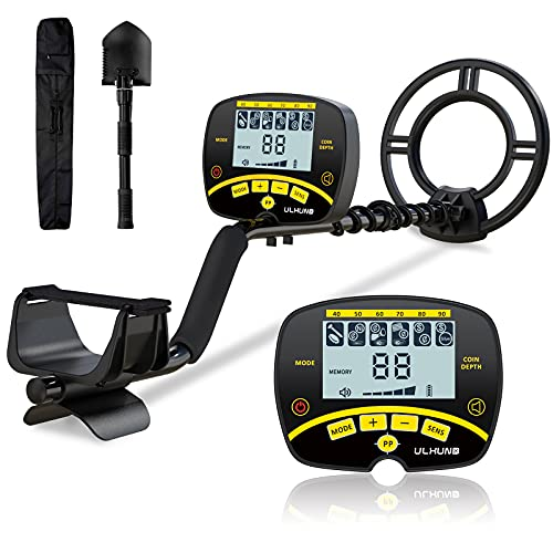 ULHUND GC-1075 Metal Detector, Higher Accuracy Adjustable Waterproof Metal Detectors with LCD Display, Discrimination & Notch & All Metal Mode 10 Inch Search Coil for Adults & Kids