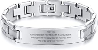 MEALGUET Personalized Custom Engraved Polished Stainless Steel Link ID Bracelets Chain Wristband for Men Husband Dad