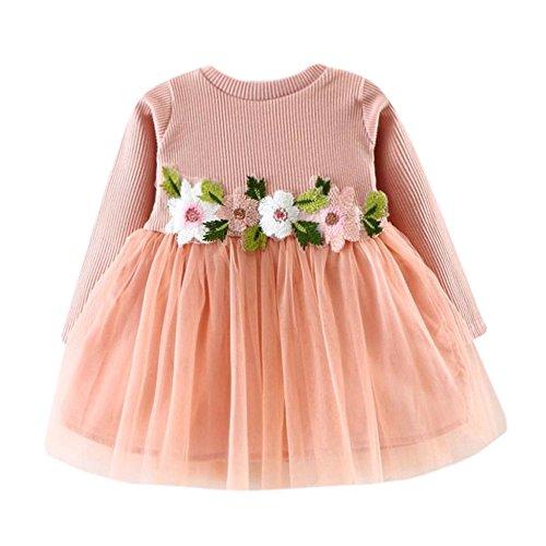 Kobay Kleinkind Baby Kind Mädchen Lange Ärmel gestrickt Bow Newborn Tutu Prinzessin Kleid 0-24M (90/12-18Monat, S-Rosa)