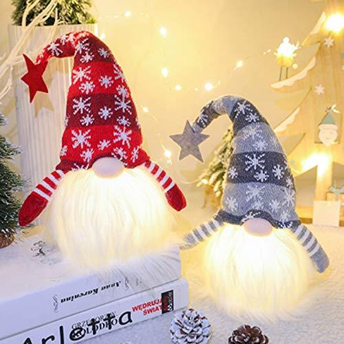 AOXING Paquete de 2 gnomos de Navidad iluminados de 28 cm, regalo de cumpleaños para el hogar, Navidad, decoración navideña iluminada y funciona con pilas, perfecto regalo de Navidad