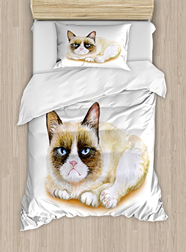 Ambesonne Animal Duvet Cover Set, Grumpy Siamese Cat Angry Paws Kitten Moody Feline Fluffy Love Art Print, Decorative 2 Piece Bedding Set with 1 Pillow Sham, Twin Size, Brown and Beige