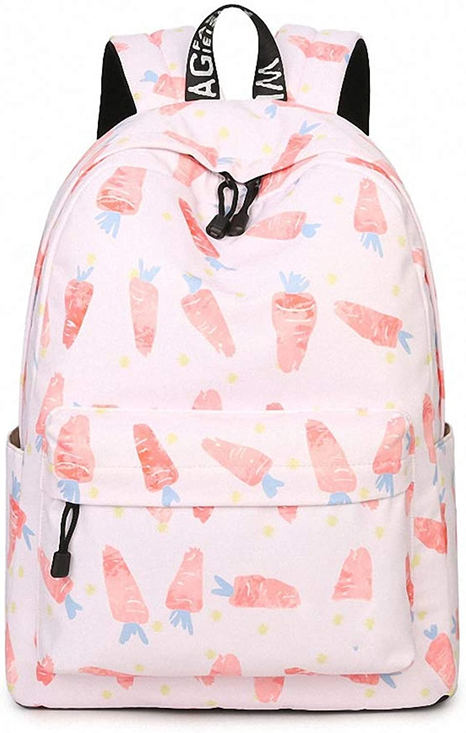 Daypacks & Casual Bags New Waterproof Fabric Women Backpack Cute Mermaid Pattern Printing Large Capacity Girls College Knapsack Black with White 14 Inches