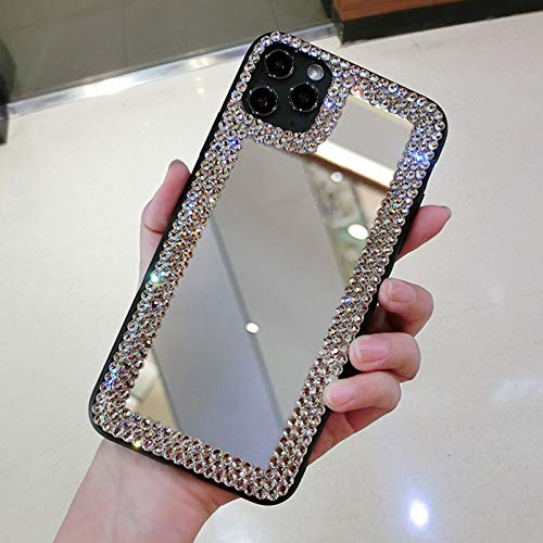 OcaseQ Funda Compatible con iPhone 12 Pro MAX Make-Up Mirror Cárcasa Espejo Elegante Girly Niña Purpurina Crystal Ultrafina Suave TPU Anti Choque Back Cover,Plata,XS