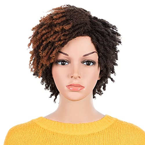 NOBLE Short Dreadlock Wigs for Black Women Ombre Red Brown Braided Wigs Synthetic Wigs for Women
