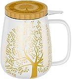 amapodo Taza de té con tapa y colador – Taza de té de porcelana grande 600 ml – XXL tazas blanco – sin plástico