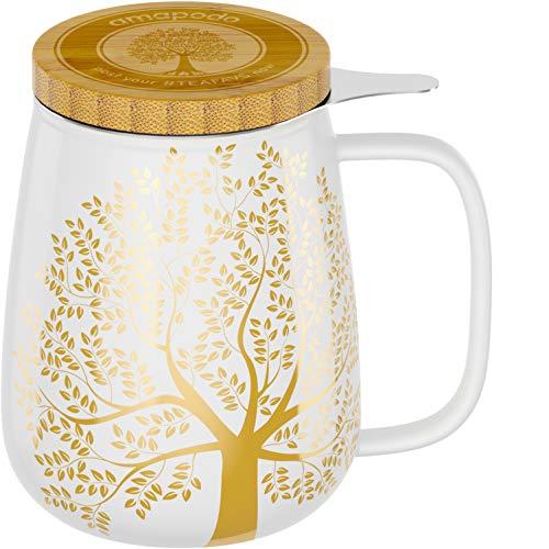 amapodo Teetasse mit Deckel und Sieb 600ml Porzellan Tasse groß, XXL Tassen Set Weiß plastikfrei