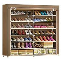 SIHOSTK 靴収納 シューズラック 靴箱 靴棚 カバー付き 7段 シューズラック シューズクローゼット 靴キャビネット 不織布 靴入れ シューズ 靴収納 ボックス 下駄箱 玄関収納 防塵 ブーツ収納 組み立て式 大容量 省スペース 幅120×奥行30×高さ125cm (コーヒー色)