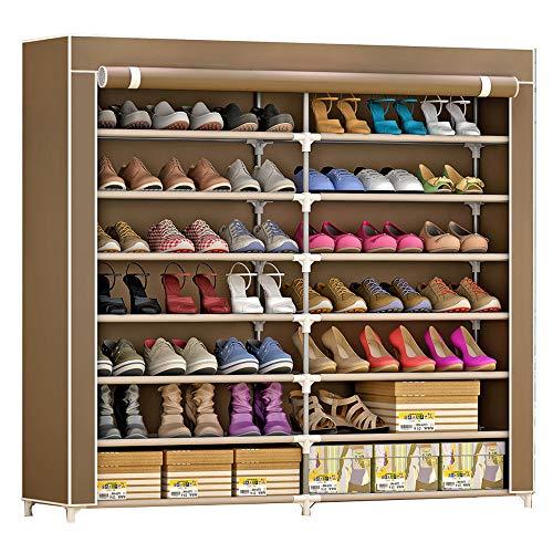 IBEQUEM Zapatero con funda de tela a prueba de polvo de 7 niveles, estante de torre para zapatos, organizador de almacenamiento de zapatos (caf¨¦)