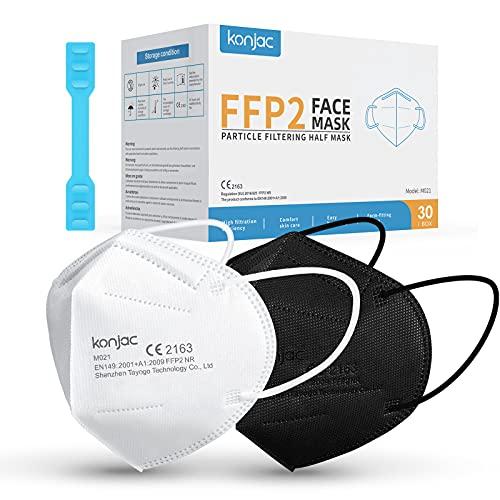 konjac FFP2 Maske Masken Mundschutz FFP2, 5-lagig Einwegmasken Atemschutzmaske Gesichtsmaske FFP2 Masken Einzeln Verpackt (15 Schwarz+ 15 Weiß)