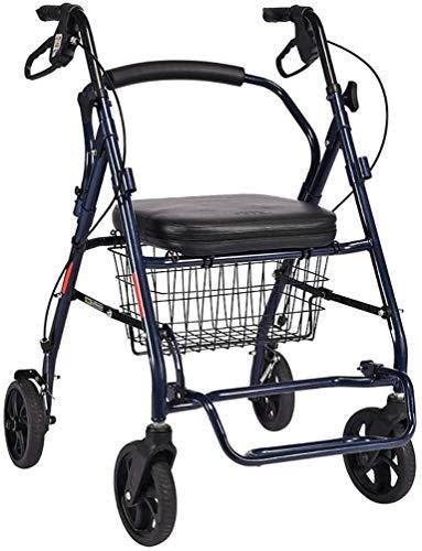 LILIS Andador para Ancianos Walker Rodadura con 4 Ruedas, con Asiento, Respaldo y Carrito - Andador Walker for Mayores Marco de Acero Durable, 6-Inch Wheels