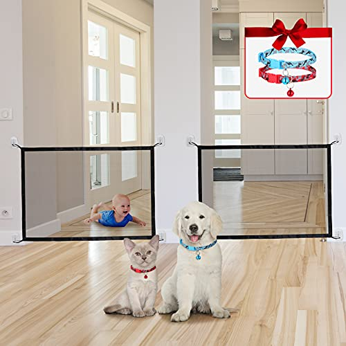 2 Pieces Safety Magic Pet Net and 2 Pieces Dog Collar in Red and Blue, Folding Pet Safety Guard Gate Portable Mesh Gate Indoor Pet Barrier for Doorway, Stairs, Gate for Dogs