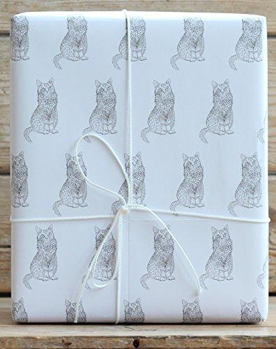 Katzen-Geschenkpapier mit Anhängern
