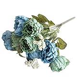 HVdsyf 1 Ramo De Flores Artificiales, 8 Cabezas De Textura Clara Ramo De Flores De Peonía Decoración Artesanal para El Jardín De Su Casa DIY Etapa Boda Arreglo Fiesta Azul Claro