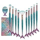 CiticolorJuego de brochas de maquillaje Citicolor para base de pez gordito, 11 piezas de cerdas de nailon suave, kit de maquillaje de belleza, corrector de colorete, corrector de ojos, cara, labios