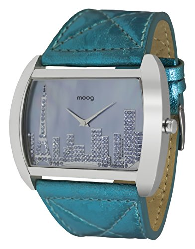 Moog Paris Skyline Reloj para Mujer con Esfera Nácar Azul, Correa - de Piel Genuina y Cristales Swarovski - M41882-006