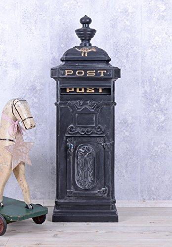 Historischer Standbriefkasten, Briefkasten, Briefbehälter, Eisenbriefkasten, Kasten im Stil der Gründerzeit aus Gusseisen in Grau - Palazzo Exclusive
