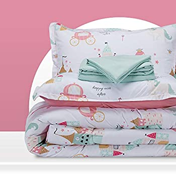 SLEEP ZONE Kids Bed-in-a-Bag Bedding Set Easy-Care Microfiber Ultra Soft Comforter and Sheet Sets with Sham 5 Pieces Princess Castle for Girls Pink Twin
