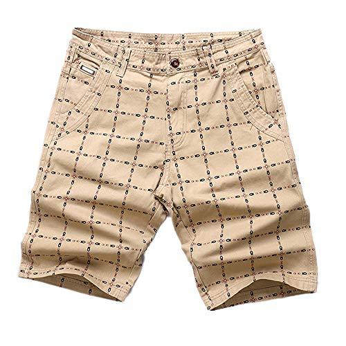 U/A Verano Nuevo Ajuste Suelto Capris Transpirable Casual Pantalones Grandes Pantalones de Playa Pantalones Cortos de Hombre Verde caqui 42