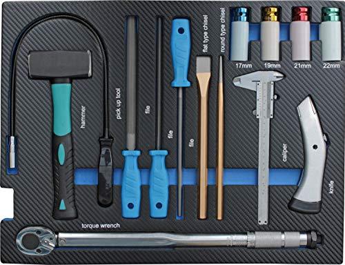 Werkzeugeinleger mit Carbonoptik mit Feilen, Meißel, Fäustel, Drehmomentschlüssel | Systemeinleger für Werkstattwagen