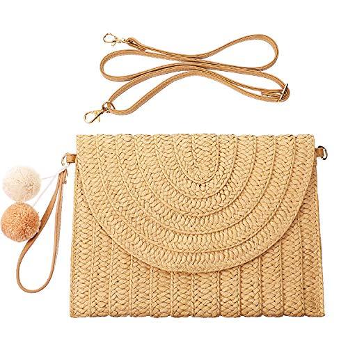 Straw Shoulder Bag Straw Clutch Straw Crossbody Bag Casual Beach Straw Handmade Bag for Women Envelope Purse Wallet