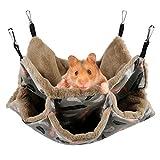 Aceshop Hängematte für Kleintiere, Weiche und Warme Haustiere Käfig Hängematte 3-lagig Haustierkäfig-Hängematte Meerschweinchenkäfig-Zubehör für Süße Hamster, Frettchen, Papageien, Meerschweinchen