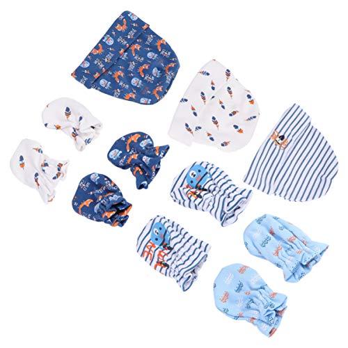 ULTNICE 11 Stück Baby Baumwollkappe Und Anti-Kratz-Handschuhe Neugeborene Gesichtsschutz Baumwolle Kratzhandschuhe Keine Kratzhandschuhe für Neugeborene Baby Blau
