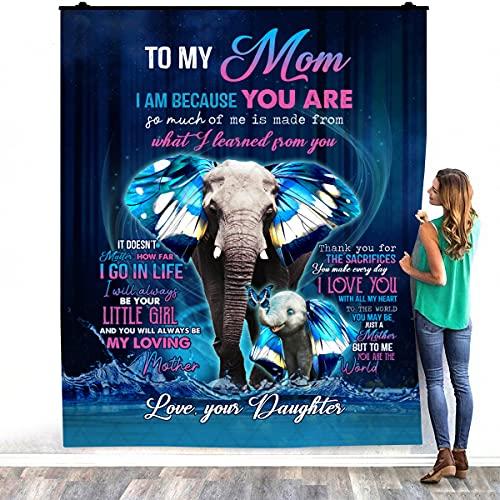 To My Mom I Am Because You Are Elephant - Manta de forro polar de felpa para decoración de dormitorios (127 x 152 cm)