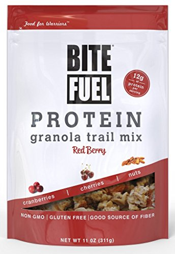 BITE FUEL High Protein Granola Trail Mix, Non GMO, Gluten Free Healthy Snacks - Red Berry 11oz, 2 Count by