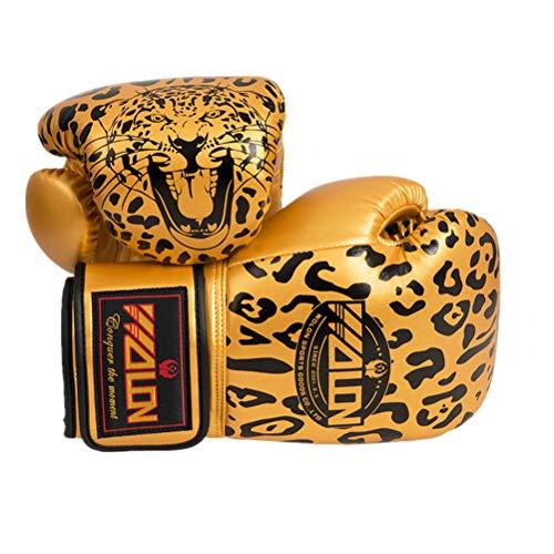 GUALA Boxhandschuhe Profi-Leopard-Muster MMA Leder-Schutzhandschuhe Muay Thai Kickboxen Training Kampf Schlags-Handschuhe Schutzhandschuhe für Erwachsene,Gelb