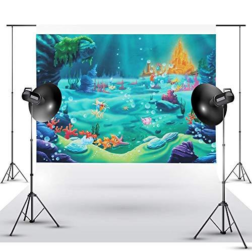 bozitian Hintergrund Fotografie Thema unter dem Meer Meerjungfrau Foto Muster Für Kinder Scherzt Baby Foto Studio Porträt Schießen - 1.5 × 2.2 m